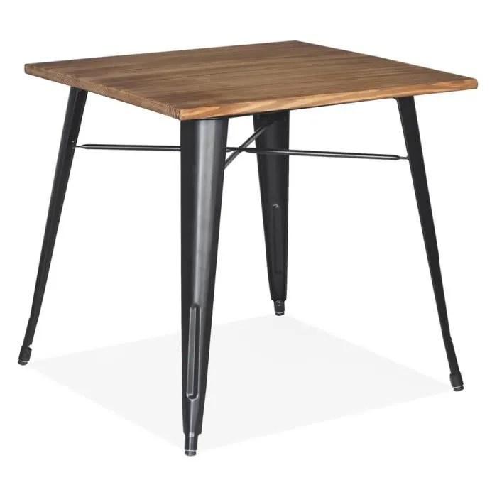 table carree style industriel marcus en bois fonce et pieds en metal noir 76x76 cm