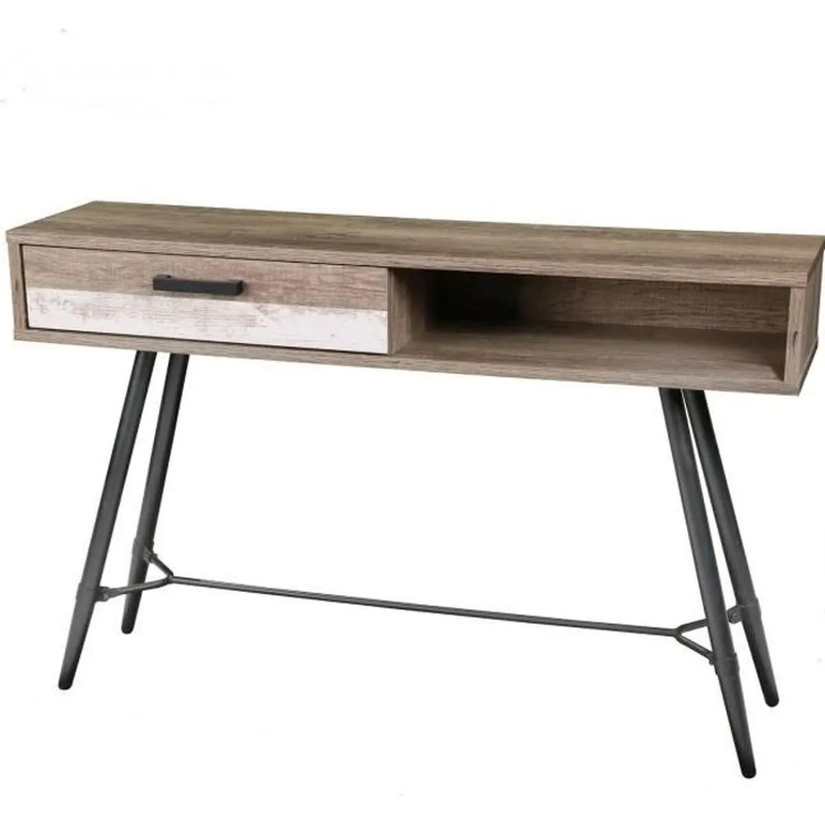 table salon basse tele retro console tv bois metal industriel design entree