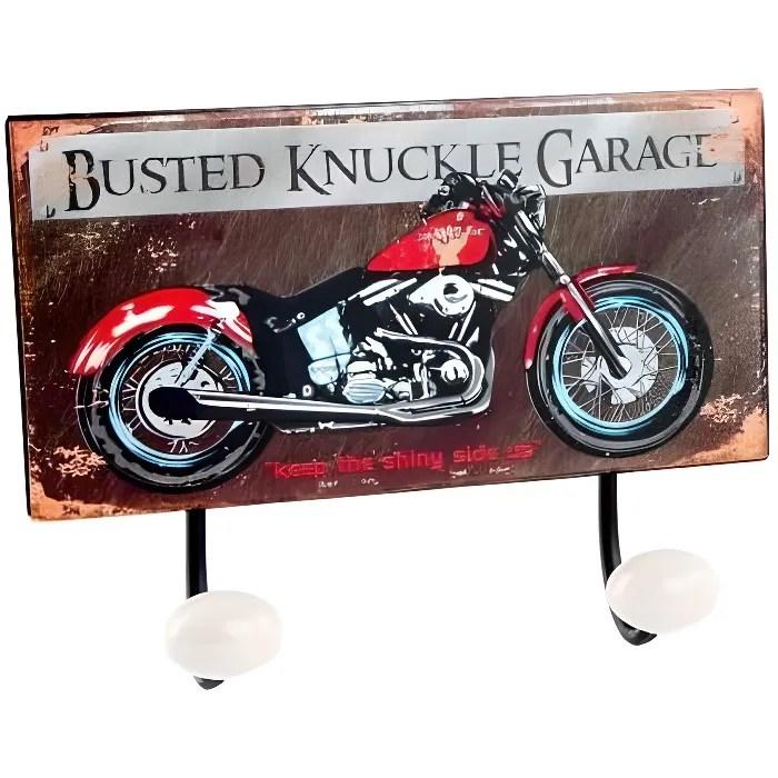 porte manteau mural patere metal moto vintage a