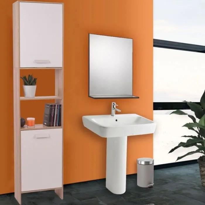 meuble colonne salle de bain en bois design hetre portes blanches
