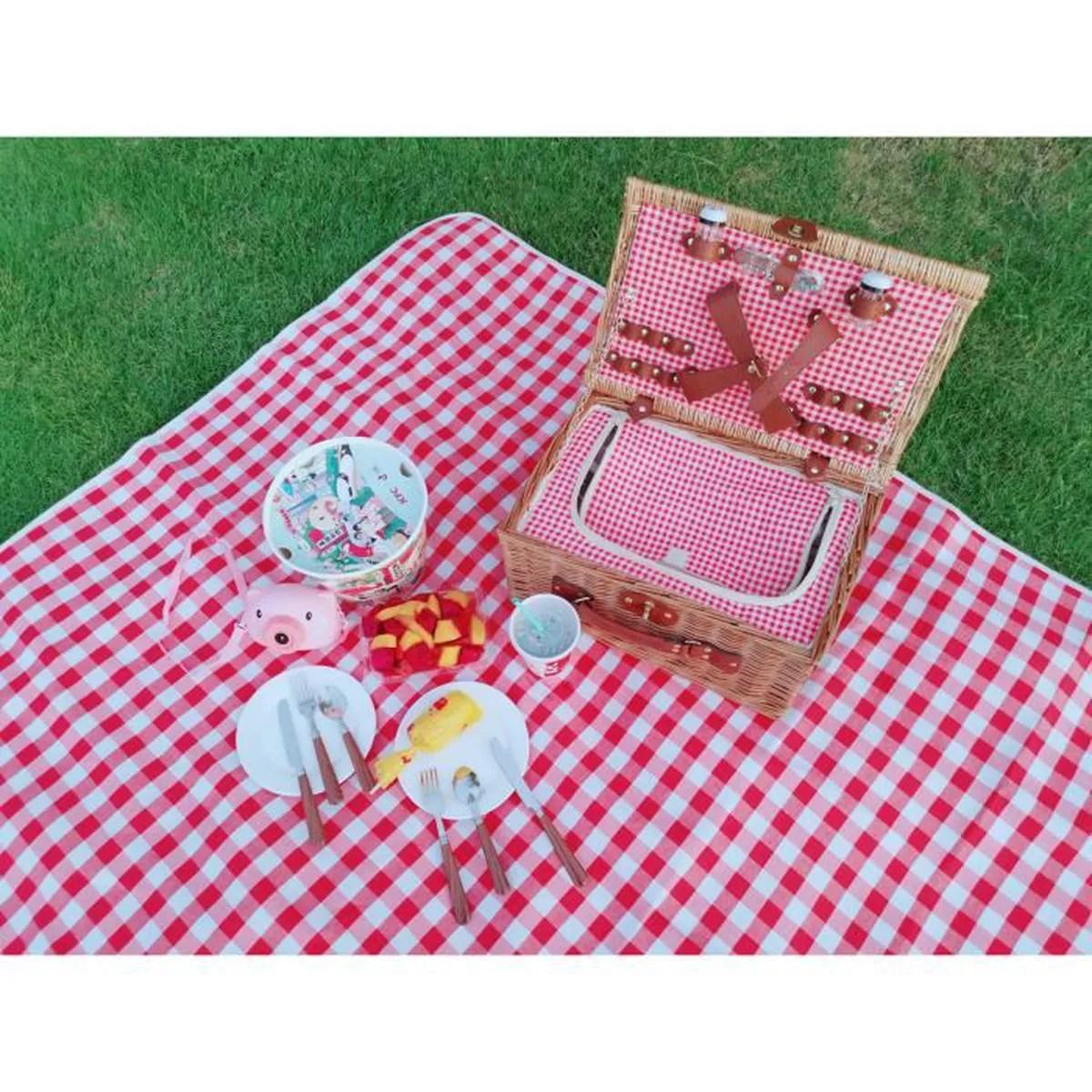 couverture picnic impermeable nappe picnic resiste a l humidite tapis pique niques exterieur en carreaux vichy rouge 150x150 cm