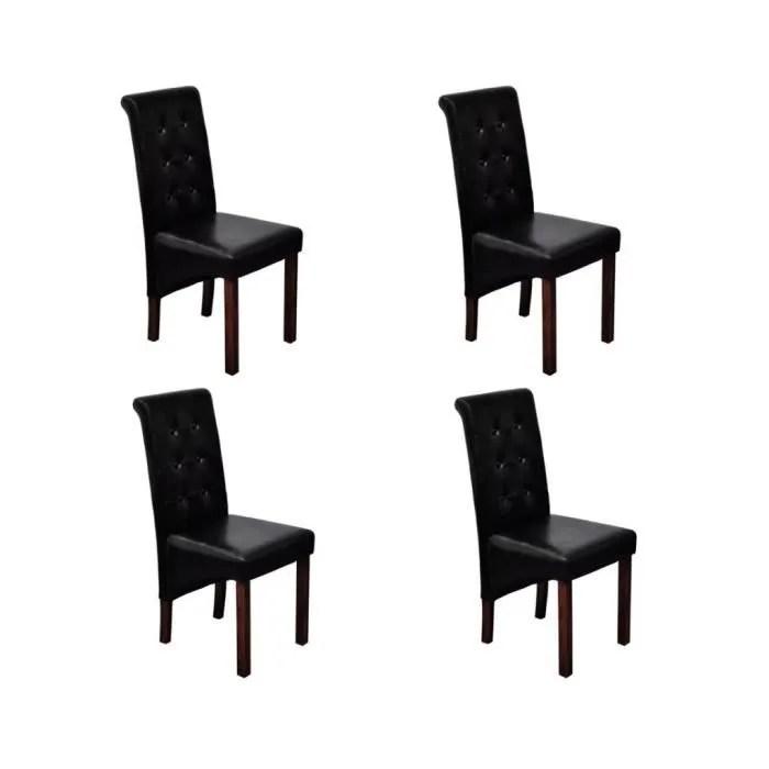 chaise de salle a manger antique simili cuir noir lot de 4