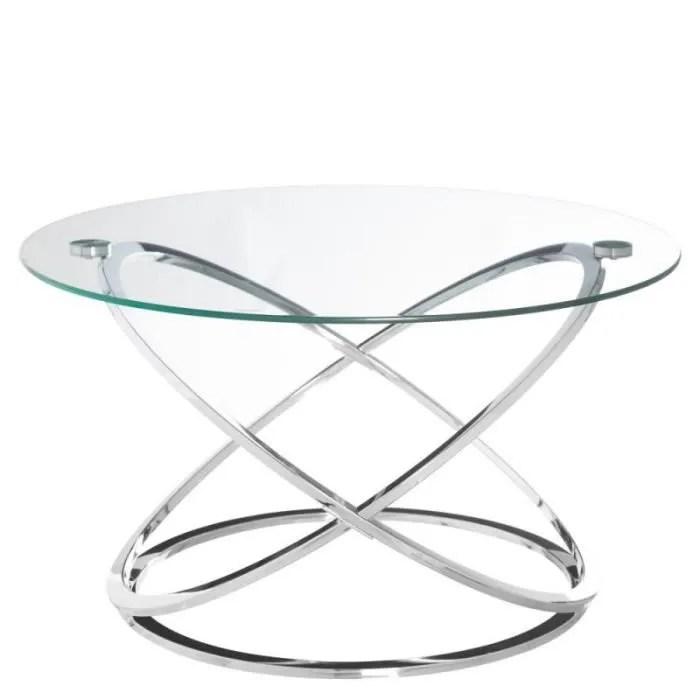 table basse ronde verre metal gote l 80 x l 80 x h 46
