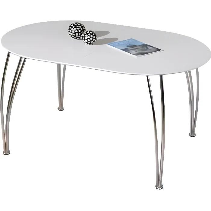 table ovali ovale de cuisine blanche meuble salle a manger blanc avec rallonge dim 1400 1800x740x900