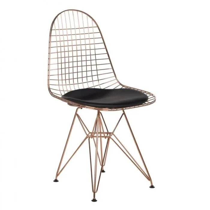 chaise brich metalisee or rose