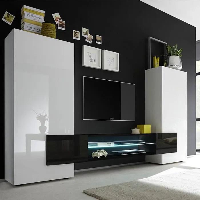 meuble tv mural blanc et noir laque luxor avec ec