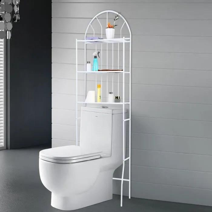 meuble wc etagere de toilette support de stockage a 3 niveaux 176 5 62 33 5cm blanc dba
