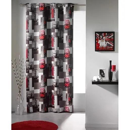 rideau a œillets occultant imprime kingdom 140x260 cm gris et rouge