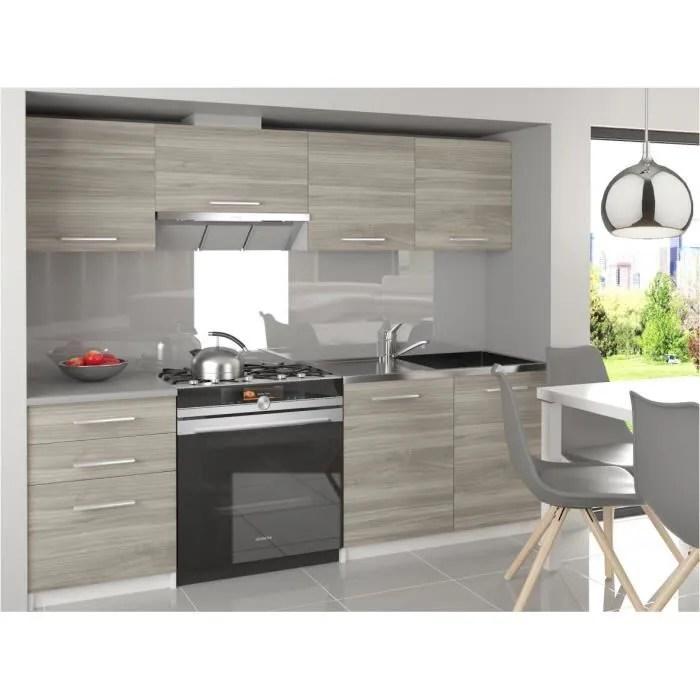 scandik cuisine complete modulaire lineaire l 180 120 cm 5 pcs plan de travail inclus meubles cuisine aspect bois blanc