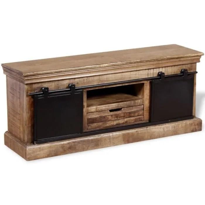 meuble tv avec 2 portes coulissantes bois de mangu