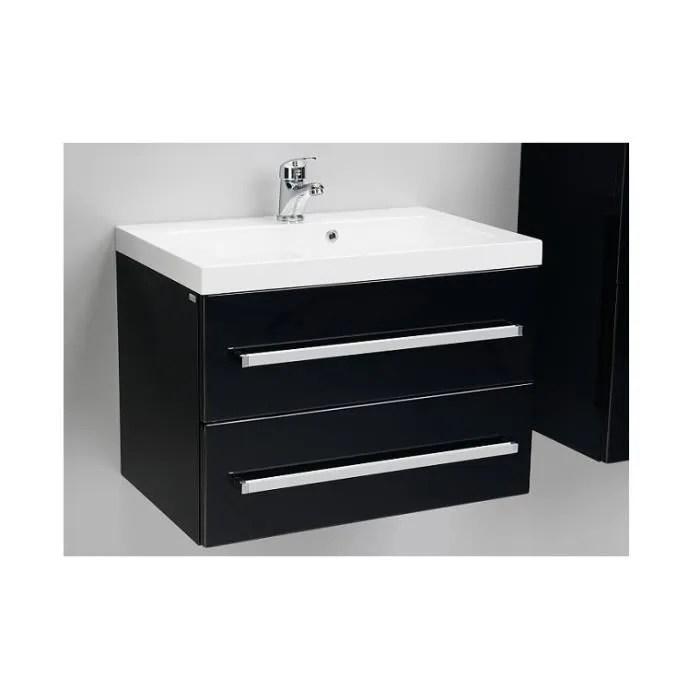meuble bas et vasque 60 cm noir laque