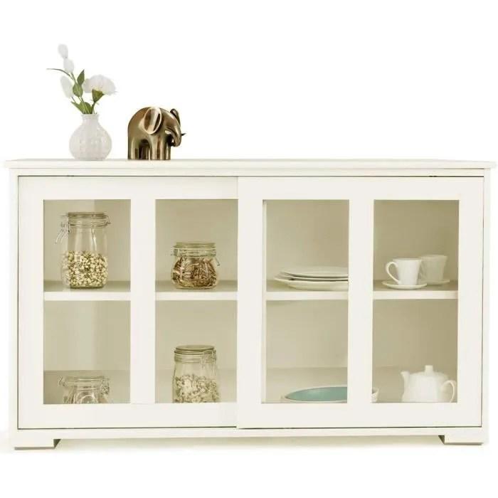 buffet de cuisine pratique meuble de rangement bas avec porte coulissante en verre trempe et 2 etageres en mdf beige