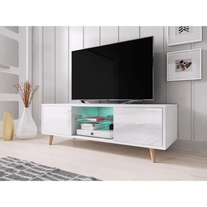 vivaldi meuble tv sweden 140 cm blanc mat blanc brillant avec led style scandinave