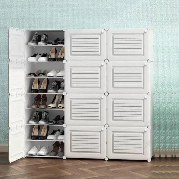 armoire a chaussures meuble a chaussures etagere avec 12 portes plastique facile a monter blanc etagere de rangement pratique