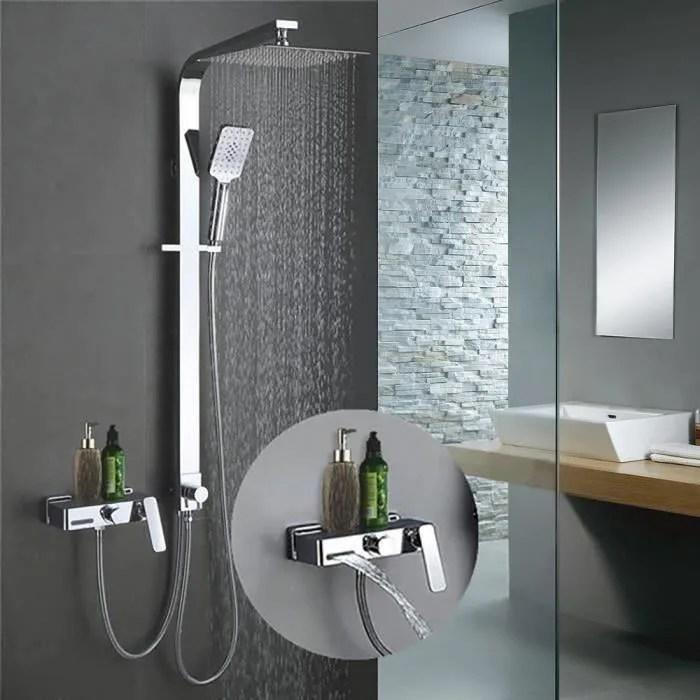 colonne de douche avec robinet cascade ensemble de douche pour baignoire kit de douche corps en laiton douchette a main 3 fonctions