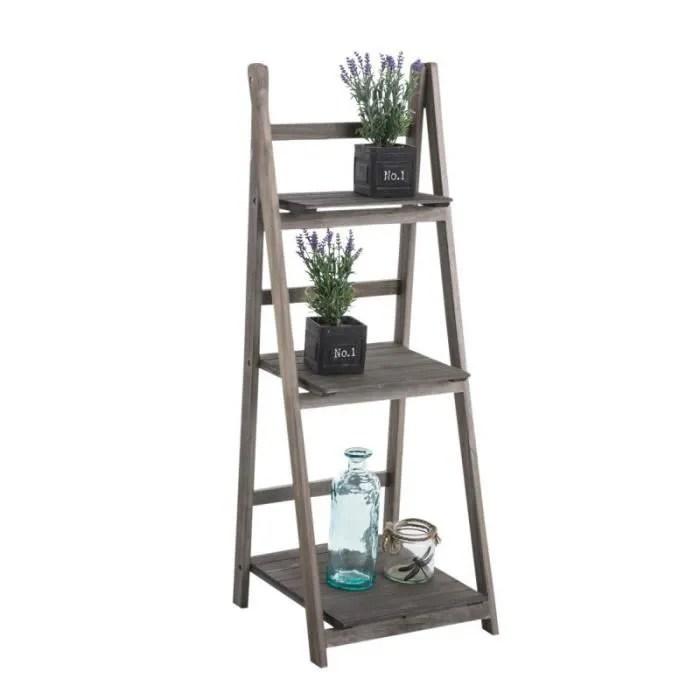 echelle etagere plante decoration vintage en bois marron vieilli 3 niveaux eta10006