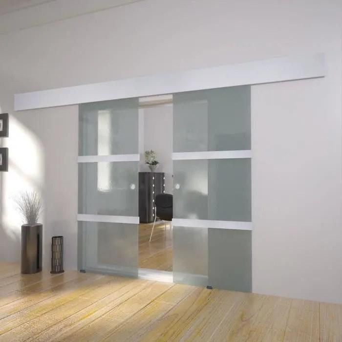 porte double coulissante verre transparent