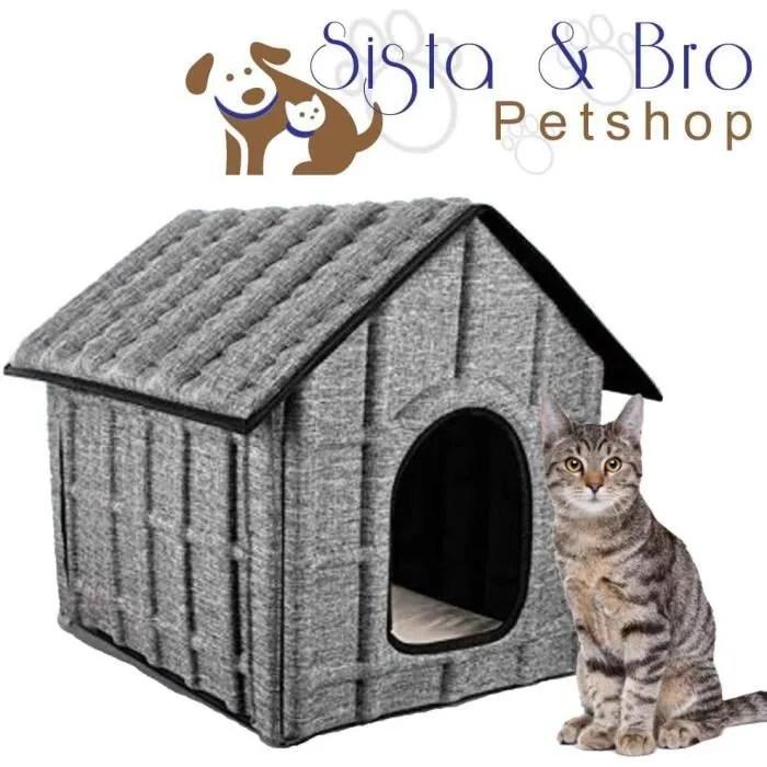 maison cabane niche pour chat exterieur ou interieur materiau impermeable couchage interieur doux et confortable demon 123233