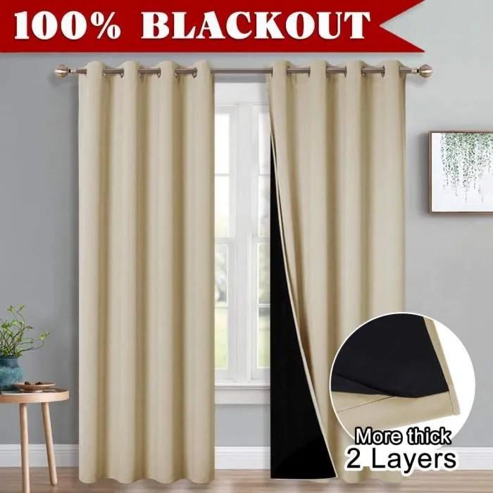 rideaux occultants isolants double rideau thermique 2 couches salon a oeillets pour chambre l 132 x h 213cm jaune beige 2