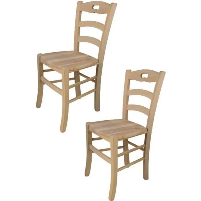 tommychairs set 2 chaises cuisine savoie robuste structure en bois de hetre poli non traite 100 naturel et assise en bois