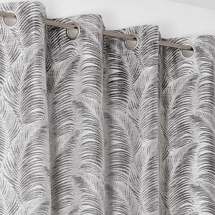rideau a oeillets aux motifs palmes gris anthracit