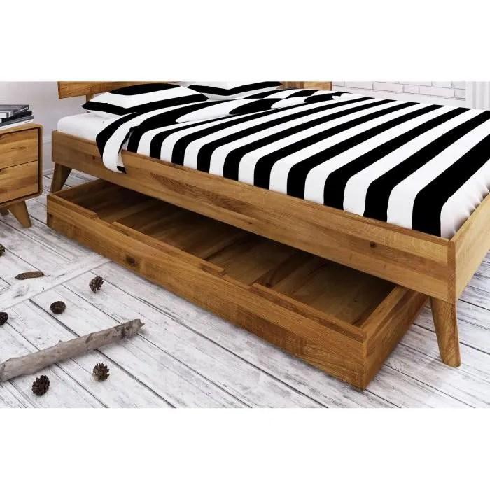 tiroir de rangement sous stucture lit 150x68x15cm bois massif de chene sauvage huile malmo 07