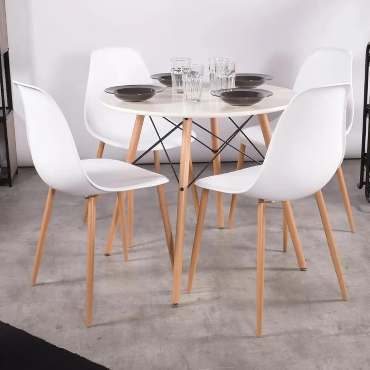 lot de 4 chaises scandinave blanches
