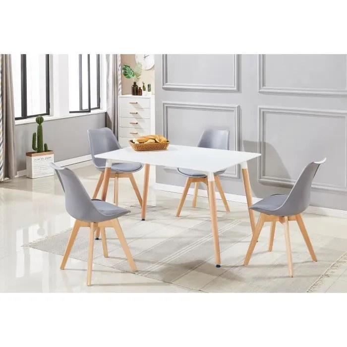 ensemble table de salle a manger complet table blanche 4 chaises grises design scandinave cuisine salon bureau
