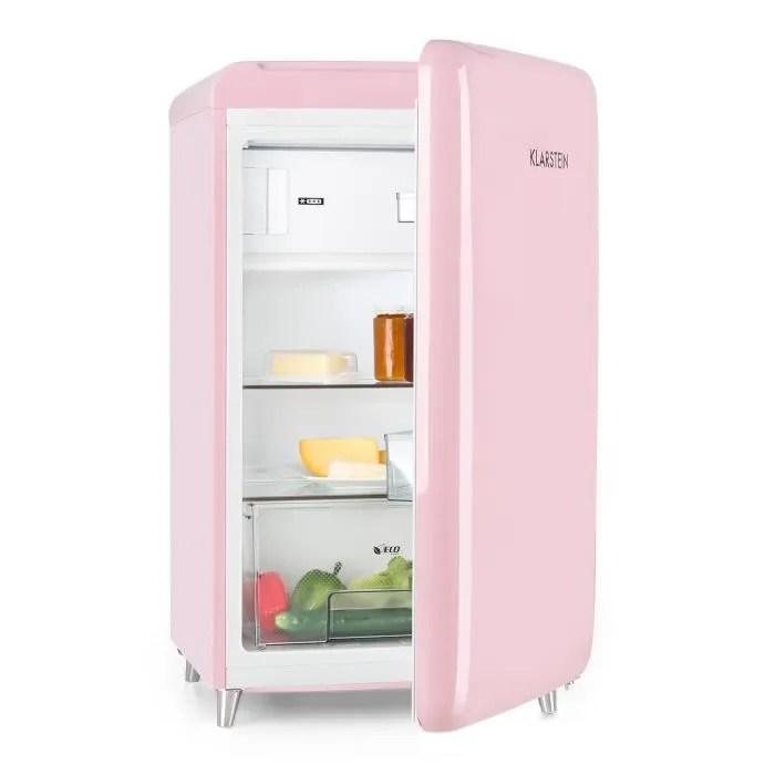 klarstein popart refrigerateur frigo design retro pop a 108 l 13 l 2 etageres bac a legumes compartiment congelateur rose