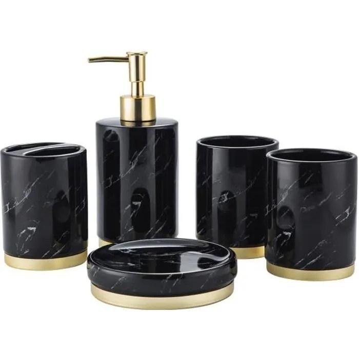 set 5 pcs accessoires salle de bain creatifs ceramique marbre noir