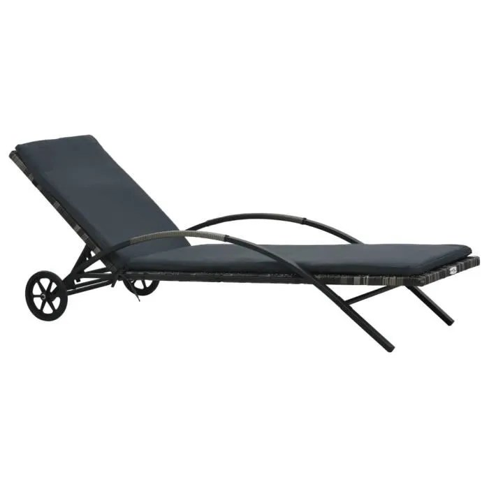 chaise longue de jardin relax transat bain de soleil de jardin avec coussin et roues resine tressee anthracite