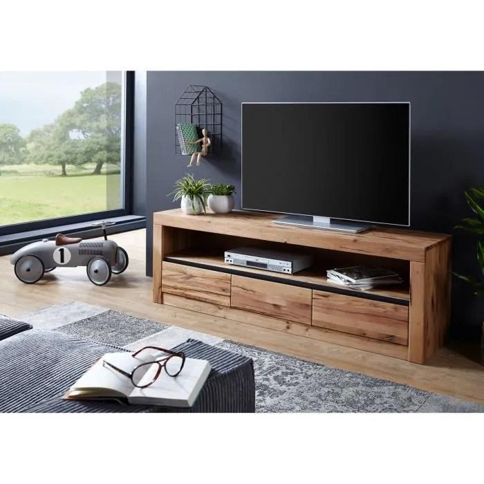 meuble tv bois massif de chene sauvage huile bo