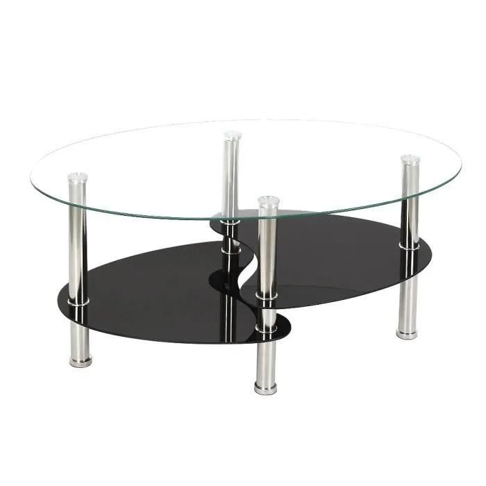 table de salon table basse noire transparent