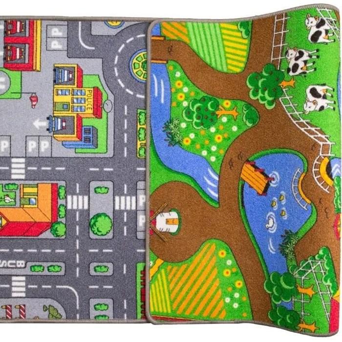 tapis de jeux enfants reversible ville routes ferm