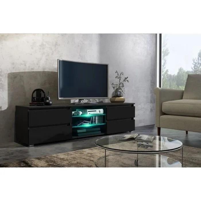 meuble tv 150 cm noir mat et facade laquee