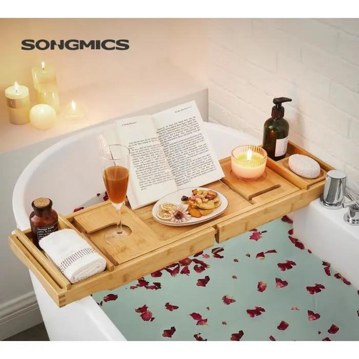 songmics pont de baignoire extensible plateau de baignoire en bambou rangement pour la sdb tablette porte savons offert bcb88y