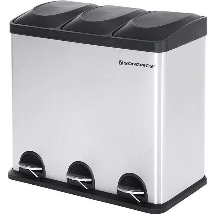 poubelle de cuisine a pedale ltb54l 54l 3 compartiments amovibles de 18 l tri selectif inox