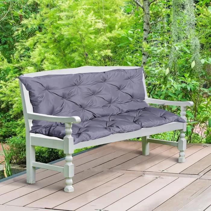 coussin matelas assise dossier pour banc de jardin balancelle canape 2 places grand confort 120 x 110 x 12 cm gris neuf 40