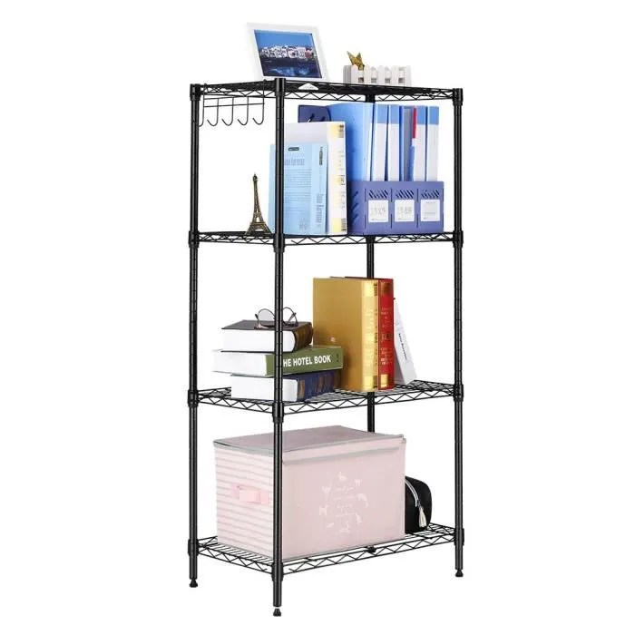 etagere de rangement en metal avec 4 tablettes pieds reglables stockage d appoint dans la cuisine chambre salon sdb garage ca
