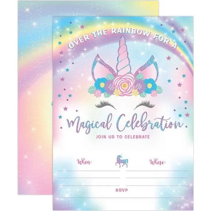 invitation anniversaire de licorne