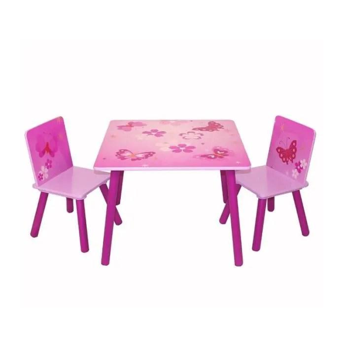 table avec 2 chaises pour enfant motif papillon rose ape06009