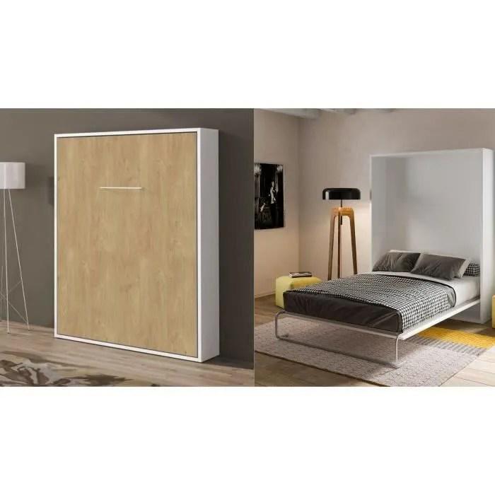 bomeuble lit escamotable 140x190 vertical chene clair et blanc manuel