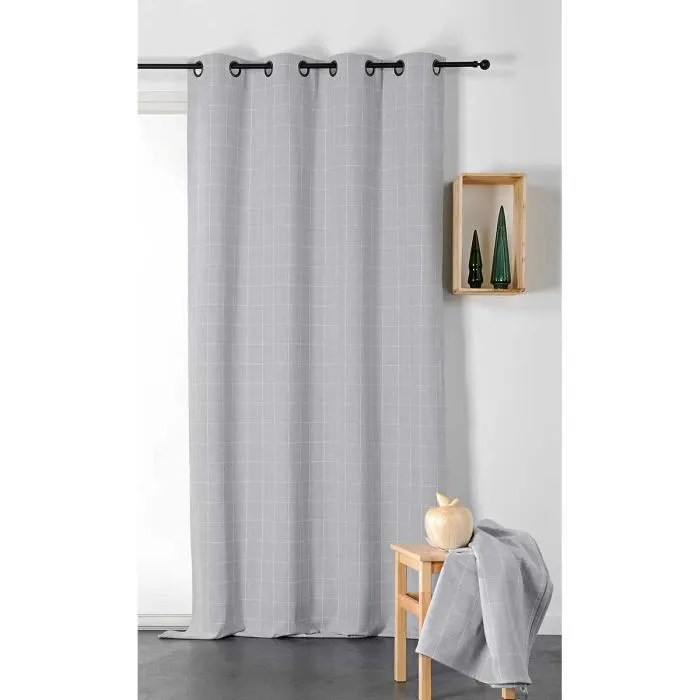 rideau tamisant au style british gris clair 140 x