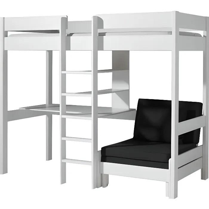 lit mezzanine compact pin massif blanc