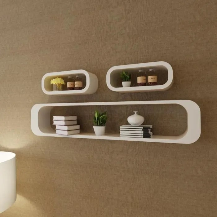 3 etageres cubes murales meuble de rangement etagere rangement decoration pour maison mdf stockage livre dvd blanc rectangulaire