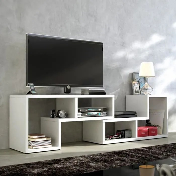 laras meuble tv bibliotheque en bois de salon comb
