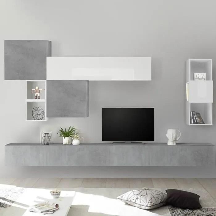 meuble tv mural blanc et gris clair rovigo gris l