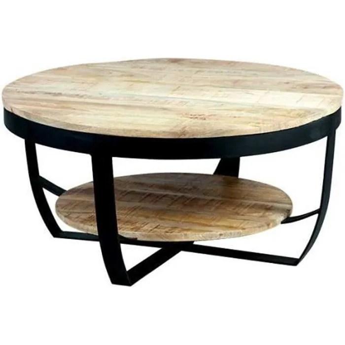 table basse ronde metal bois massif