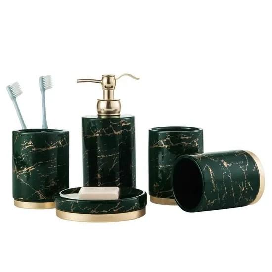 ensemble d accessoires salle de bain 5 pcs set de salle de bain de effet marbre vert ceramique