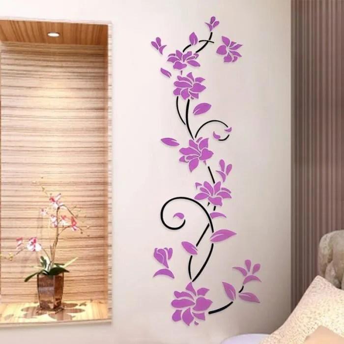 3d fleur violet stickers muraux creatifs decor de la chambre salon maison